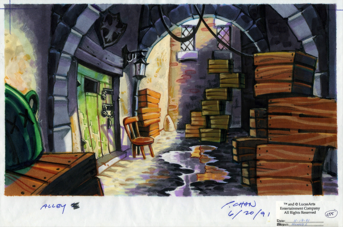 Monkey island 2 lechuck s revenge concept art the international - Original Background Drawing For The Gambler S Club Doorway