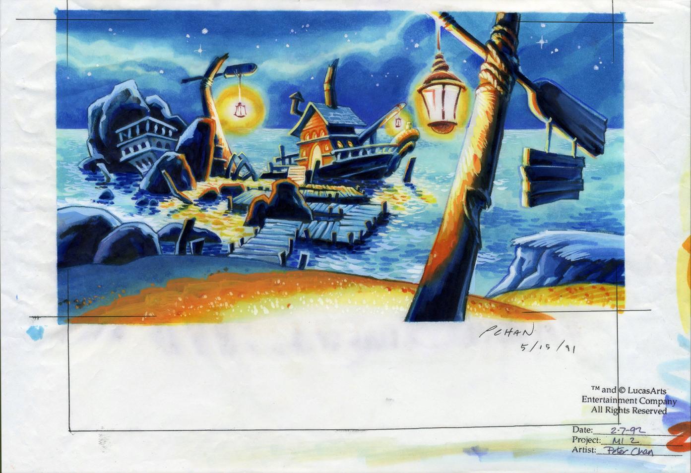 Monkey island 2 lechuck s revenge concept art the international - An Alternate Background Design For Captain Dread S Ship Moored At Scabb Island Here