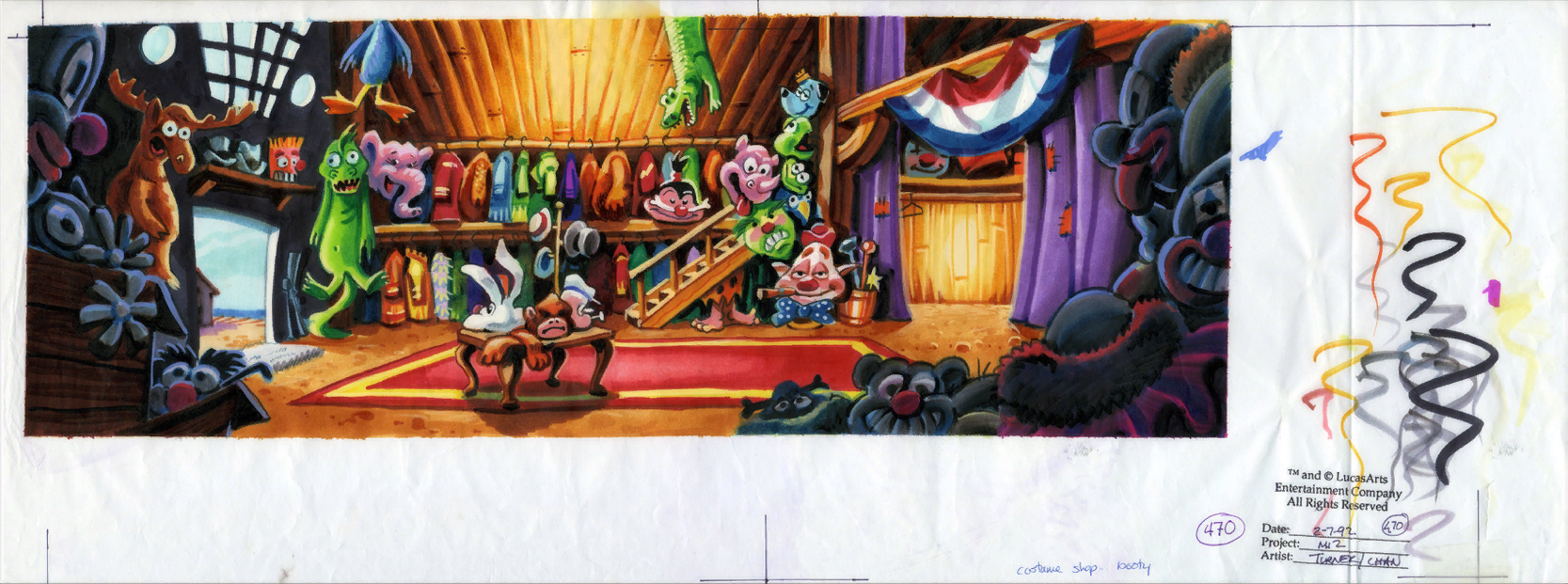 Monkey island 2 lechuck s revenge concept art the international - Original Background Drawing For The Booty Island Costume Shop Sam And Max Haven T