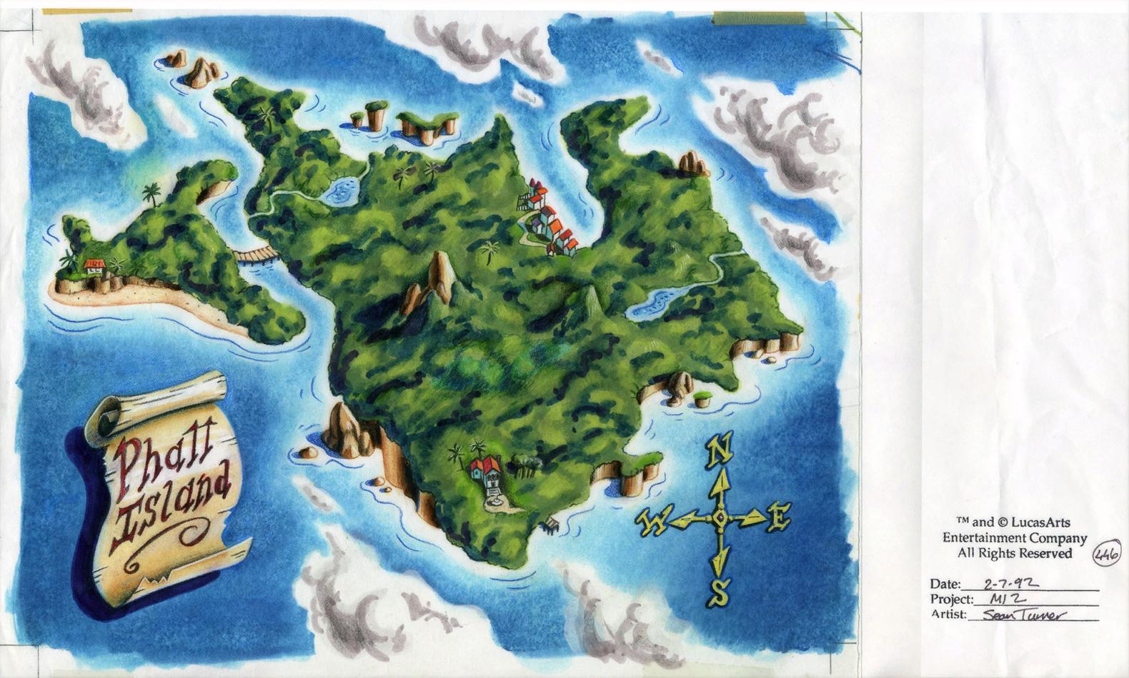 Monkey island 2 lechuck s revenge concept art the international - Original Background Drawing For The Phatt Island Map The Bridge Leading To Rum Rogers