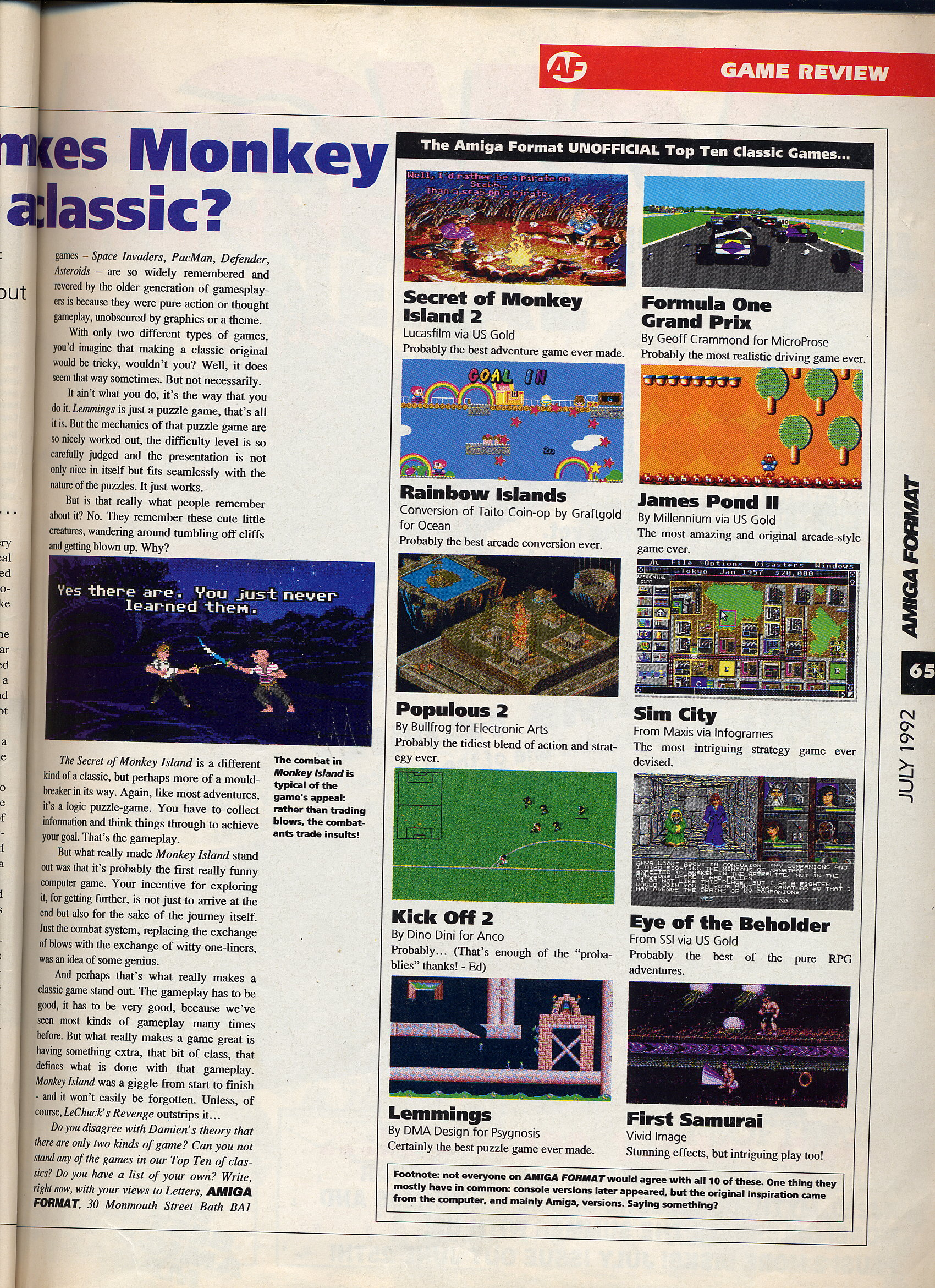 Monkey island 2 lechuck s revenge concept art the international - Page 4 Of Amiga Format S July 92 Review A Very German Monkey Island 1 2