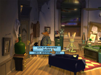 Sam and Max in their office, and a peek at the point-and-click interface.