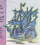 Steve Purcell's drawing of LeChuck's ghost ship, scanned from <i>Adventurer</i> #1