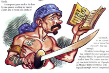 Steve Purcell's drawing of a swarthy pirate reading <i>101 Scathing Insults</i>, scanned from <i>Adventurer</i> #1