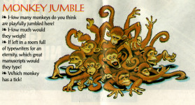 Steve Purcell's drawing of a bunch of monkeys, scanned from <i>Adventurer</i> #2