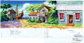 Original background drawing for Ville de la Booty. Note the nice ship docked at the harbor.