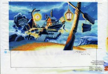 An alternate background design for Captain Dread's ship, moored at Scabb Island. Here, the entire area is brightly lit by several lanterns.