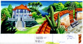 Original background drawing for the exterior of Governor Phatt's mansion.