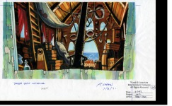 "Original background drawing for the cabin of Captain Dread's ship (or, as he was originally known, ""Captain Dred"")."