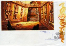 Original background drawing for the doorway to LeChuck's office. In the final game the background was mirrored.