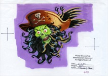 A drawing of Zombie LeChuck's face and head, intended to be used in a close-up portrait of him. The portrait was eventually cut from the game.