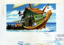 Original background art for the exterior of Captain Dread's ship at sea.
