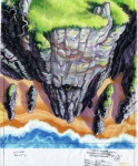 Original background drawing for the Booty Island cliff face.