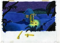 An early background drawing for the guardhouse on Booty Island (or, as it was then known, Crooked Island). Initially the entire island was going to be set at nighttime, as with Scabb Island, and Melee Island in MI1.