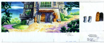 Original background drawing for the rear of Elaine's mansion on Booty Island.