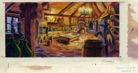 "An early background drawing for the kitchen of Elaine's mansion on Booty Island (or ""Crooked Island,"" as it was then called). As can be seen here,Crooked Island was originally meant  to be set at nighttime."