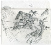 Original preparatory drawing for the background painting of Rum Rogers' cottage. Here the monkey statue holds a banana, a feature dropped in the final design due to the requirements of a puzzle. (This background as first colored, including the statue's original form, can still be seen in a very early MI2 slideshow demo.)