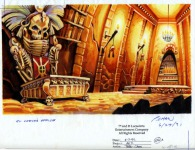 "Original background drawing for LeChuck's office in his fortress. The label tells us that it was originally the office of ""El Carlo"" (perhaps an early name for Largo LaGrande)."