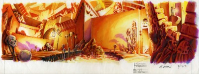 Original background drawing for the entrance hall of LeChuck's Fortress.