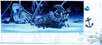 Original background drawing for the underwater wreck of the Mad Monkey.