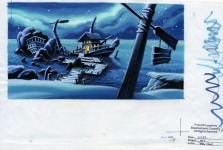 Original background drawing for Captain Dread's ship, moored off Scabb Island. This is the design of the room that was ultimately used.