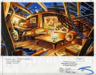 Original background drawing for Wally's house. An earlier version of this background was created as a test image to see how well scanned backgrounds would work for MI2.