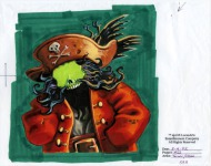 This is a drawing that was the base for a close-up portrait of LeChuck. The face and hands would have been overlaid on top of this drawing by the game later, so as to allow for expressive animation. The close-up was ultimately deleted from the game.