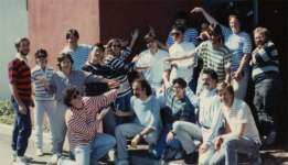 The LucasArts team pose for Ron Gilbert Day, all wearing his style of clothing (a striped top).