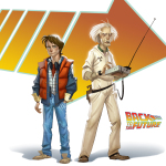 Back to the Future concept art with Marty and Doc Brown