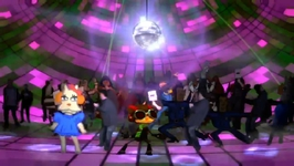 Raz from Psychonauts is one of the dancers at the disco