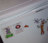 Double Fine's fridge, upon which we see a Day of the Tentacle magnet. Tim hasnt forgotten the good old days of LEC; he even has a lucasguy magnet.