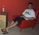 Spaff relaxes in the pre constructed press photo area. We have no idea if this area was made for that purpose or not.