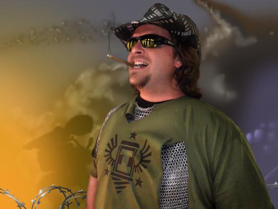 Camden Stoddard posing in his Iron Brigade t-shirt