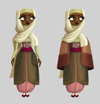 Lady Aziza, who enlists Duke's aid, is inspired by Algerian noble ladies of the 16th century.