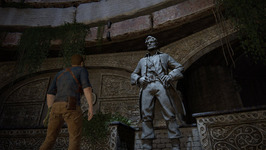 Uncharted 4 features a Guybrush statue.