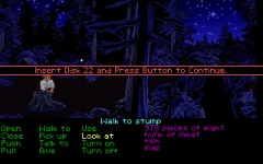 In the disk version of MI1 you could look the stump, and Guybrush would try to squeeze in there. A message would come up asking for an absurd amount of disks, all of which didn't exist. Word has it that the LEC hintline was swamped with queries about this