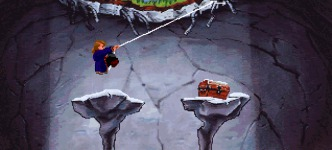 The Indiana Jones theme plays when Guybrush tries to reach Big Whoop.