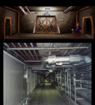 The underground tunnels are very similar to the employee only tunnels that go under Disney Land.